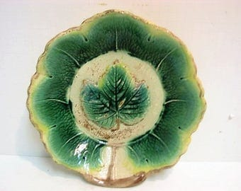 "Majolica Leaf Plate, Antique Green Leaves 10"" Vintage Bowl Dish"
