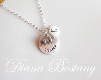 Mama Bear Necklace, Sterling Initial Necklace, Mom Necklace, Mother Necklace, New Mom Gift, Animal Spirit Necklace, Gift for Her
