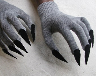 Claw gloves, charcoal gray and black, for Halloween costume or pretend play, one size stretch glove