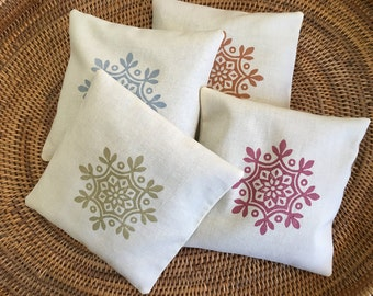 Organic Lavender and Peppermint Sachets - Dryer Bags - Hand Printed Cotton Sachet