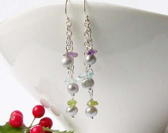 Gray Freshwater Pearl Earrings, Pearl Earrings