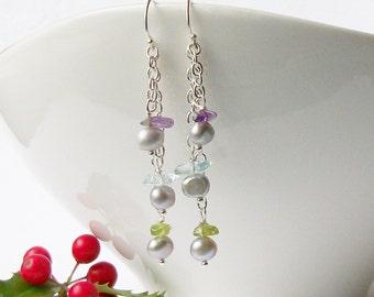 Gray Freshwater Pearl Earrings, Pearl Cluster Earrings
