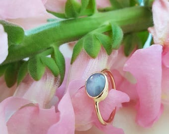 Blue Star Sapphire Ring, Natural Blue Star Sapphire in 18k Rose Gold Handforged Setting, OOAK Ring, Ready to Ship