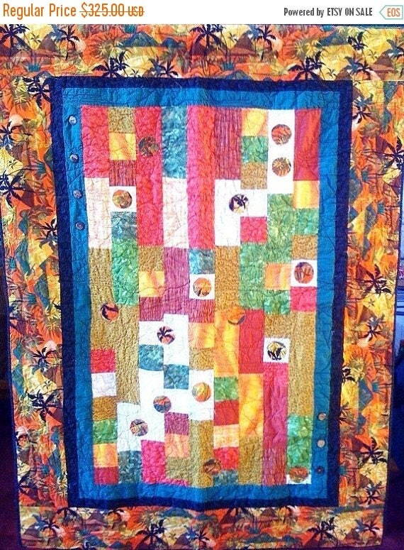 Make Mom Happy Sale Fall in Love With Island Life, 46 x 64 quilted wallhanging, 2009