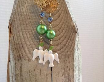 White dove earrings