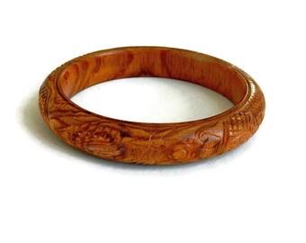 Vintage Carved Wood Bracelet