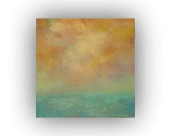 Gold and Green Abstract Landscape- Small 12 x 12 Field Sky and Clouds Oil Painting- Original Palette Knife Art on Canvas