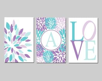Aqua and Purple Nursery Art Girl Nursery Decor Lavender Nursery Flower LOVE Custom Monogram Initial - Set of 3 Prints - Choose Your Colors
