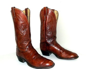 ON SALE Vintage Justin brand Cowboy Boots size 10.5 B with wood stacked heel
