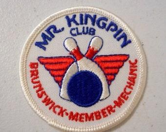 Mr Kingpin Club Bowling Patch Brunswick Member Mechanic Ball Pins Bowler Vintage