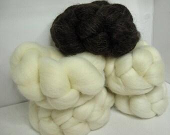 Wool Sampler Roving Combed Top - 5oz - Sampler of five Wools