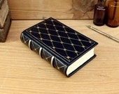 Small leather journal, Dark blue with gold decoration, A Sky Full of Stars