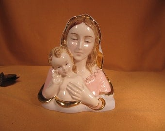 BLESSED MOTHER and BABY Jesus Bust figurine mde in Italy,Mary and Baby Jesus, Statue made in Italy Statue of Mary and Baby Jesus, ceramic