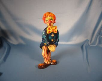 PAPER MACHE CLOWN, Mexican Folk Art Paper Mache clown Hecho en Mexico,1970 9 inch paper Mache Clown with closed eyes pursed clips eyelashed