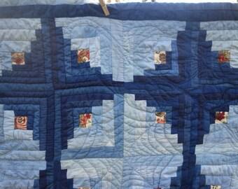"""Indigo Quilt Log Cabin Quilt Natural Indigo Dye Handquilted Light and Dark Indigo Blue Quilt Hand Dyed Cotton Quilt Handstitched 62"""" x 74"""""""