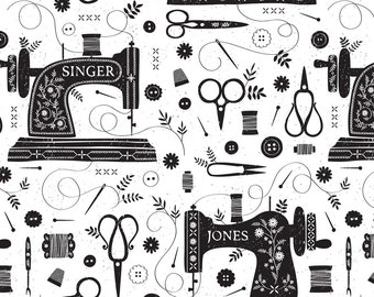 Sewing Machine Fabric - Sew Vintage // By Petite Circus // Sewing Machine Black And White Cotton Fabric by the Yard with Spoonflower fabrics