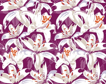 Pop Art Purple Lily Floral Fabric - Pop Lilies By Zapi -  Retro Vintage Florals Cotton Fabric By The Yard With Spoonflower