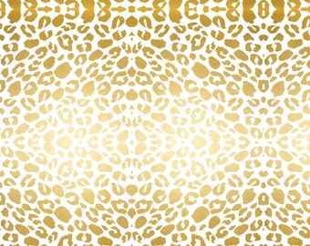 Gold Leopard Print Fabric - Gold Leopard Print By Jenlats - Gold Animal Print Cotton Fabric By The Yard With Spoonflower