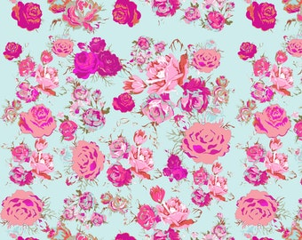 Mint + Pink Rose Fabric - Vintage Rose Floral In Mint, Fuchsia, Magenta, Blush By Theartwerks - Cotton Fabric by the Yard With Spoonflower