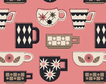 Retro Coffee Cups Fabric - Coffee Mugs In Pink By Mintgreensewingmachine - Kitsch Retro Kitchen Cotton Fabric By The Yard With Spoonflower