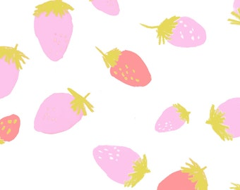 Pink + Red Summer Strawberry Fabric - Strawberry Pink And Gold By Canigrin - Summer Berrie Cotton Fabric By The Yard With Spoonflower
