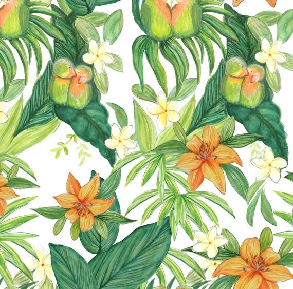 Tropical Love Birds Fabric Watercolor