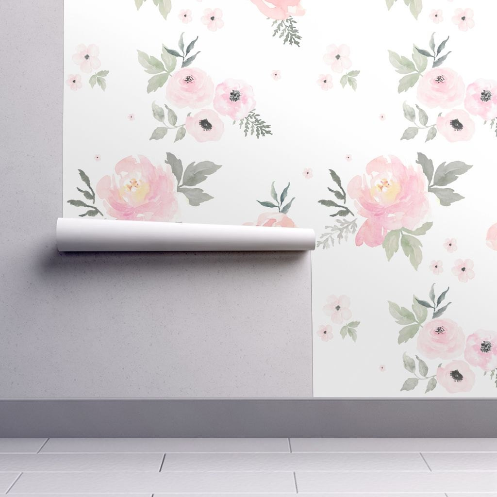 Modern interior wallpaper swatch - 1 Sample Floral Nursery Wallpaper Swatch Sweet Blush Roses By Shop Cabin 24x12 Inch