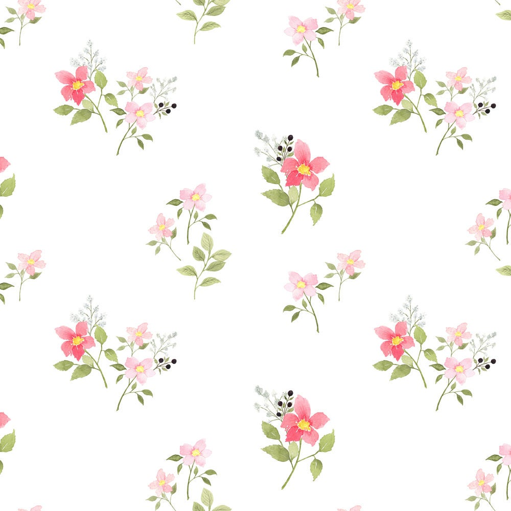 Baby girl nursery fabric dainty pink spring floral by for Floral nursery fabric