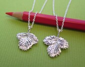 Reserved Custom Listing for importedmegami - Small Wild Strawberry Leaf Jewelry - Pure Silver Real Leaf Pendant