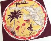 Vintage Florida handkerchief hankie flamingos and palm trees sailboat Mid Century Floridiana souvenir kitsch