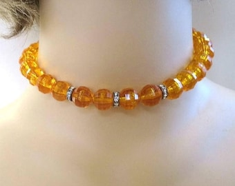 Orange Lucite Crystal Necklace with Rhinestone Rondelles Vintage