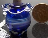 Small Blown Blue Wave Glass Cauldron Pendant Charm- Fillable Lampwork Witch Bottle