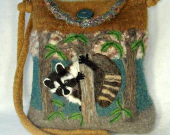 Felted Purse, Felted Handbag, Raccoon Art, Needle Felt Raccoon