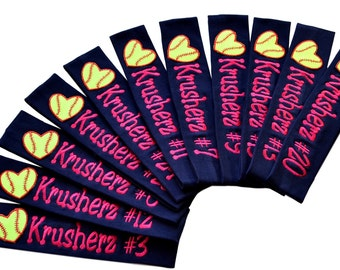Softball TEAM Headbands with Personalized Monogrammed EMBROIDERED Name and Quantity Discount  Choose Your CUSTOM Colors