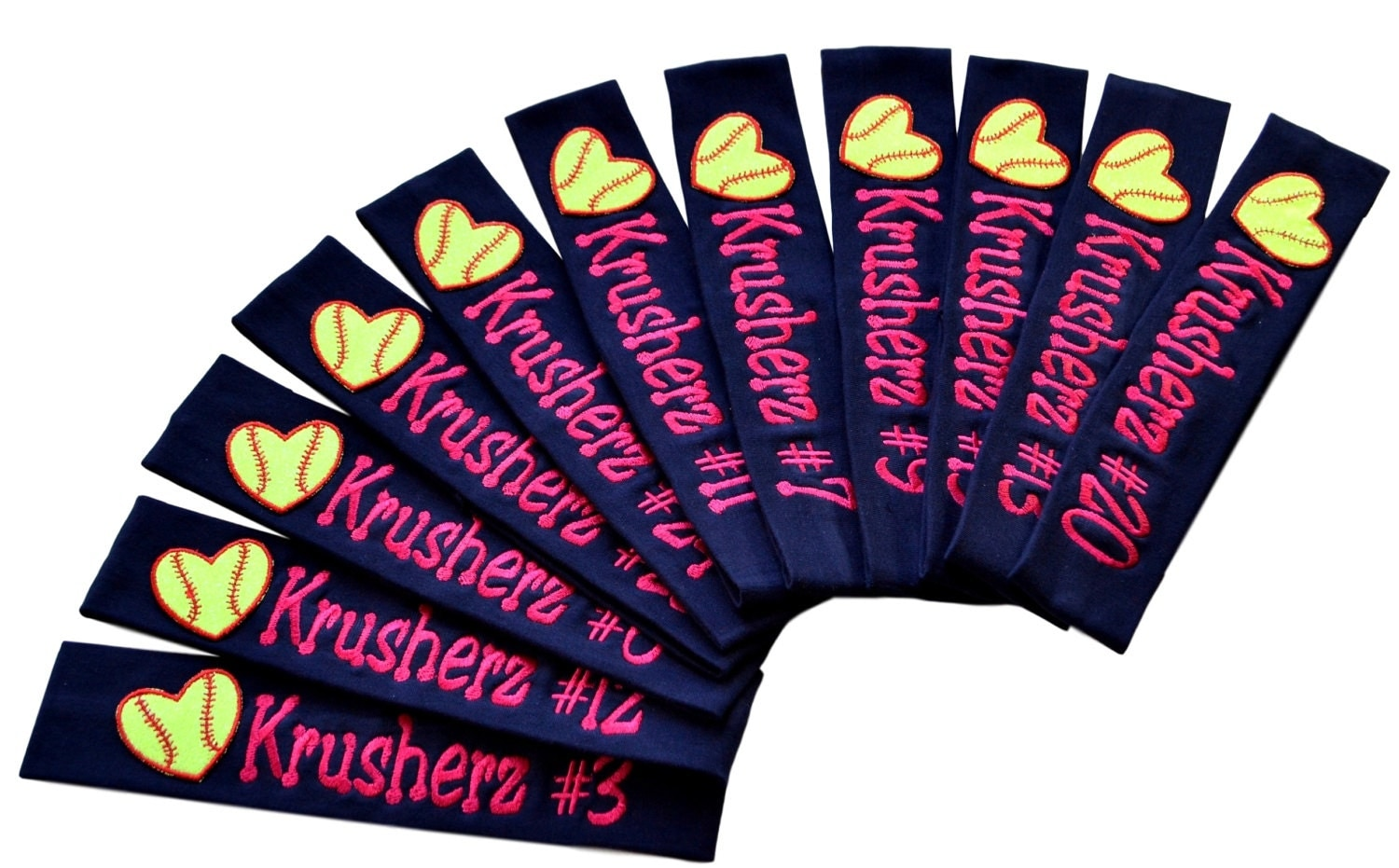 Softball TEAM Headbands with Personalized Monogrammed EMBROIDERED Name and  Quantity Discount Choose Your CUSTOM Colors 1e2f3b87e0f
