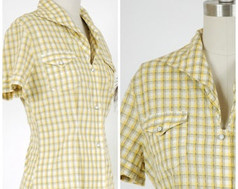 Vintage 1950s Blouse - Killer Yellow Plaid Cotton Western 50s Levis Shirt with Pearl Snap Buttons