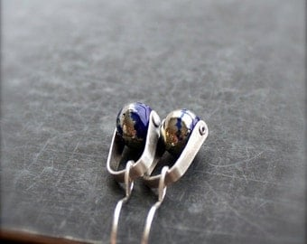 ON SALE Cobalt Blue, Silverfoil Swing Drop Earrings - Sterling Silver Rivet, Handmade Lampwork Glass, Boho Metalwork Jewellery