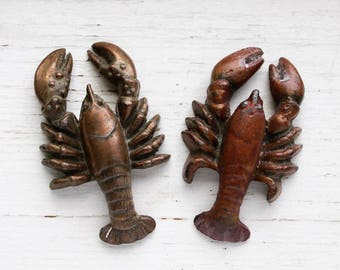 Pair of Vintage Lobster Paperweights, Beach Cottage Decor, Crustaceans, Seashore, Fishing, Beach House, Paperweights, Nautical Decor