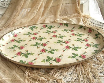 Vintage Rose Oval Tray | Highmount Quality | Chintz Floral Design | Shabby Cottage | Bar Tray Alcohol Proof