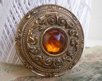 "Antique Large 1.75"" Stamped Brass Sewing Button with Amber Glass Cabochon Metal Button Hump Shank"