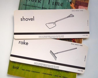 2 Vintage 1962 Flashcard Set Rake and Shovel Flash Cards Gardener's Gift Home Decor