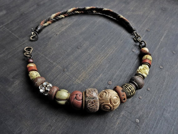 "Chunky choker-handmade artisan necklace- ""Crone of Earth""- Rustic tribal assemblage jewelry by fancifuldevices."