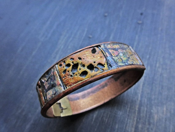 "Rustic art bracelet, polymer clay bangle by fancifuldevices- ""Guise"""