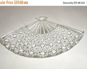 Blow Out Sale Vintage Cut Glass Dish - Fan Shaped Dish - Candy Dish - Trinket Dish - Olive Tray - Relish Tray - Fancy Cut Glass Fan Dish