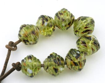Ribbed Bicone Savannah Handmade Glass Lampwork Beads (8 count) by Pink Beach Studios - SRA (2185)