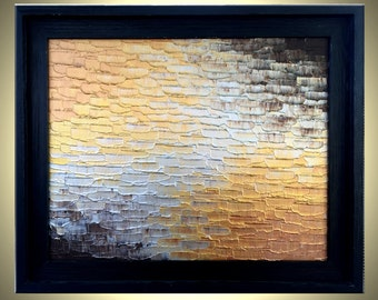 Original Palette Knife Texture Art, SILVER Copper and Gold Painting, Textured Abstract FRAMED Painting On Sale by Dan Lafferty - 16X20