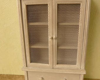Miniature dollhouse  grey cupboard dresser  linen closet in 12th scale