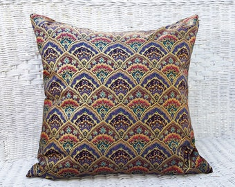 Purple Boho Pillow Covers, Moroccan Pillows, Bohemian Cushions, Gold Purple Teal Red Pillows, Gypsy Floor Pillow, PillowThrowDecor, 18x18