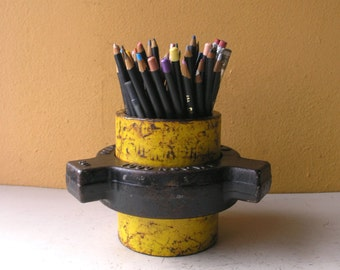 Large Pencil Cup Metal Pen Holder Desktop Storage Mens Gift Industrial Office brush holder industrial salvage upcycled pipe desk accessory