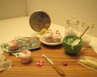 Dollhouse Miniature Prep Board Strawberry Cupcakes